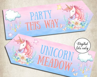 Digital Unicorn Party Arrow Signs - Party,Decoration,Printable,DIY,Birthday,Baby Shower,Decor,