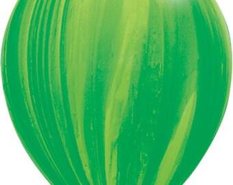 "11"" Green Marble Balloons: Wedding, Shower, Birthday, Baby, Graduation, Bachelorette, Spring Celebration, Agate, Swirl, 2017, Watermelon"