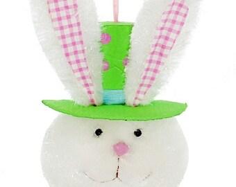 "13.5"" Bunny Head w/ Green Top Tat & Gingham Ears/Wreath Supplies/Bunny Head Decor/Easter Decor/R20099"