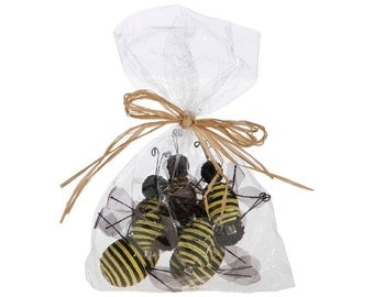 """Raz Imports 3.5"""" BEE in a Bag-Set of 6/Wreath Supplies/Bumble Bee's/Spring-Summer Decor/3706646"""