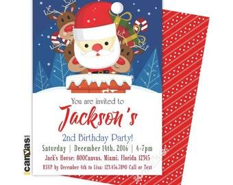 Christmas Birthday Invitation, Holiday Invitation, Secret Santa Holiday Party, Christmas Kids Invite, Eve Christmas Party, Santa Themed CH02
