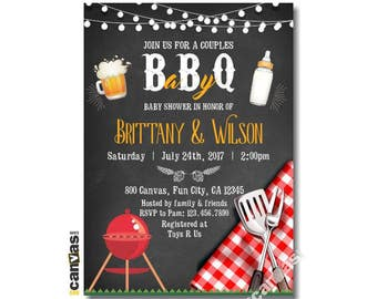 BBQ Baby Shower Invitation, Chalkboard BabyQ Shower, Couples Coed Beer Bbq Shower Invitation, Printable or Printed with FREE Shipping Bs293