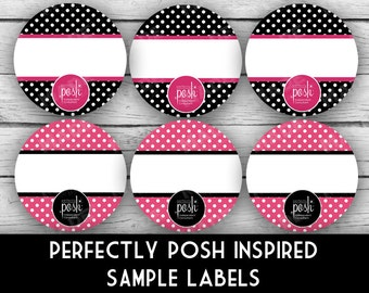 """PERFECTLY POSH Inspired 1"""" SAMPLE Labels - Dots, Direct Sales Labels, Business Labels, Business Stationery, Professional Printing"""