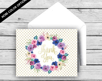 THANK YOU Note Card Set - Gold & White Dot Watercolor Flowers, Stationery, Printed Stationery, Thank You Cards, Polka Dots, Gold Foil