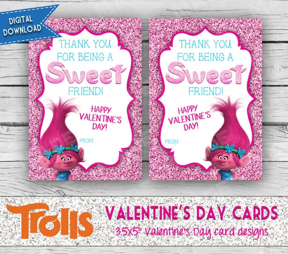 Trolls Printable Valentine's Day Cards