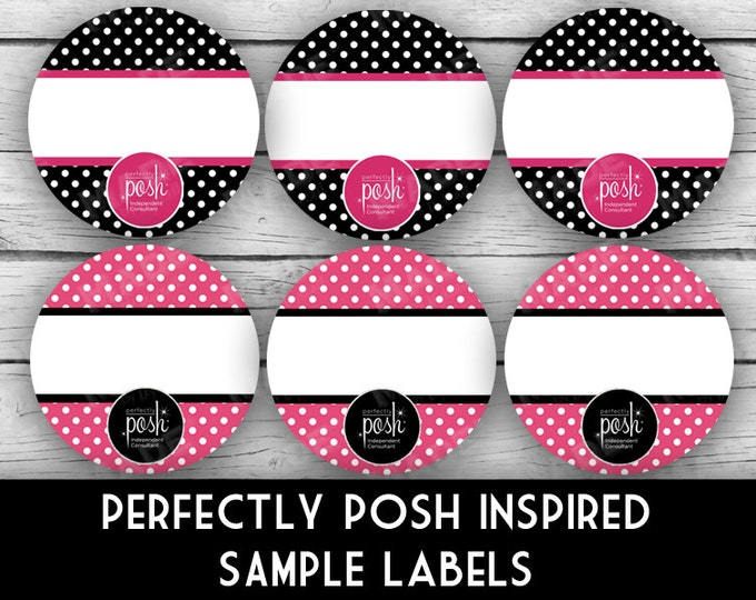 "PERFECTLY POSH Inspired 1"" SAMPLE Labels - Dots, Direct Sales Labels, Business Labels, Business Stationery, Professional Printing"