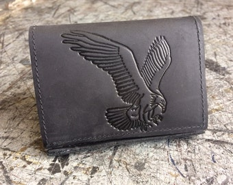 Mens Basic Trifold Wallet with an Eagle Embossed, Genuine Leather, Mens Wallet, Durable Wallet, Made in USA