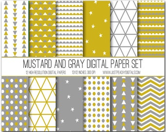 mustard yellow and gray modern digital scrapbook paper with geometric patterns