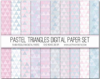 pastel triangles digital scrapbook paper