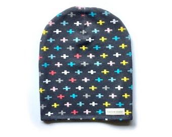 Newborn Multi-Color Crosses Slouchy Beanie