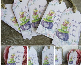10 Alice in Wonderland We're All Mad For Cake Gift Tags Toppers,Favors,Wedding.Tea Parties,Baby Shower,Bridal Shower,Birthday,Gifts