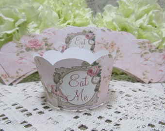 12 Alice in Wonderland Eat Me Cupcake Wrappers Tea Party,Decoration,Birthday,Wedding,Baby Shower