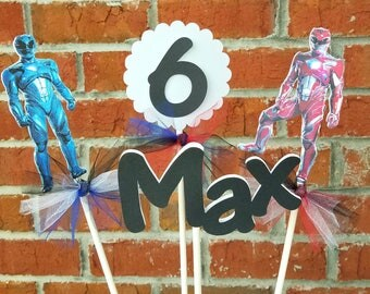 Set of 4 Power Rangers Themed Centerpiece Picks or Cake Toppers