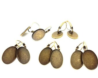 10 sleepers jagged bronze tray cabochon 18x13mm