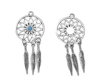 5 charms Dream Catcher 3 feathers Turquoise 59mm