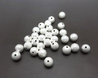 30 10mm silver Stardust beads