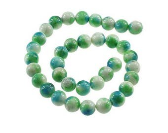 35 12mm gradient Blue Green Jade beads