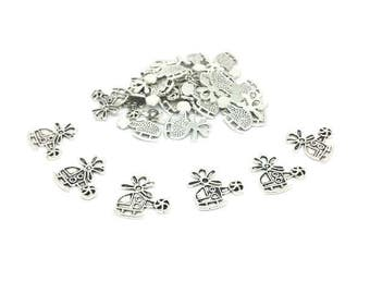 50 helicopter silver Matt 19mm charms