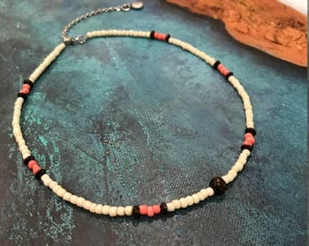 Coral and Ivory Necklace, Short Beaded Necklace, Short Bohemian Style Necklace, Hippie Jewelry, Beaded Jewelry, Adjustable Necklace