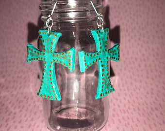 Turquoise cross earrings with copper accents