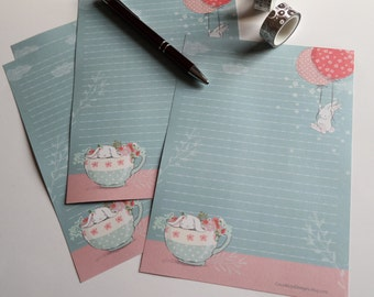 Teacup Bunny - A5 size - 24/32/40 sheets