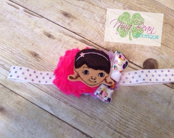 The Doc Is In - Doc McStuffins Inspired - Toddler Headband - Disney Inspired - Doc McStuffins Headband - Purple and Hot Pink headband