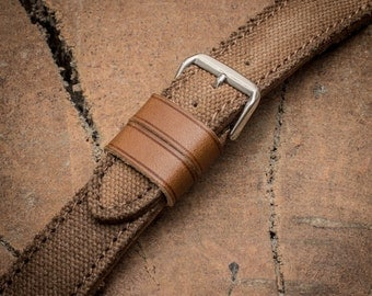 Handcrafted Personalize Canvas leather watch band Vegetable tanned leather watch strap 18 mm 20 mm watch band 22 mm 24 mm watch strap