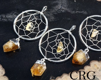 Silver Plated Dream Catcher Pendant with Citrine Point (DC4BT)
