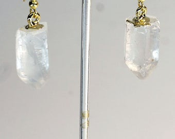 Gold Top Plated Quartz Point Earrings (ER12BT)