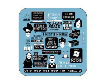 """The IT CROWD - Fridge Magnet """"Collage"""" 57mm x 57mm - Shiny Gloss Finish - Original unofficial TV themed"""