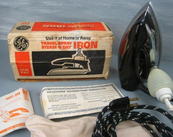 Vintage GE Travel Iron with Box, Manual and Storage Bag - General Electric Spray Steam & Dry Iron – Cat No F47