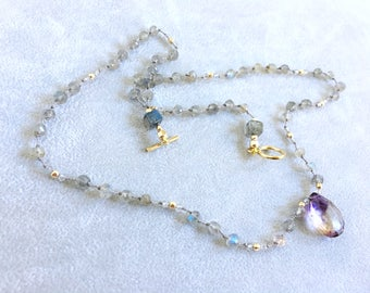 Hand Knoted gemstone V -Rare Moss Amethyst, Blue Flash Labradorite, Gold Filled Beads - Ready to Ship