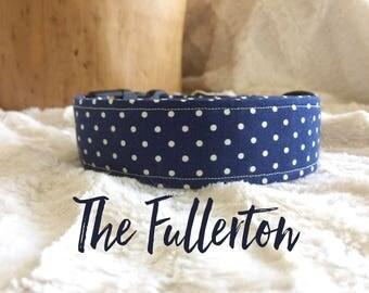 Polka Dot Dog Collar, Trendy Dog Collar, Blue Dog Collar, Handmade Dog Collar, Adjustable Dog Collar, Trendy Dog Accessory, Puppy Gift