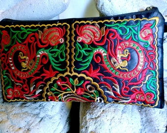Hmong Clutch Bag - Embroidery Wristlet - Boho Wallet - Accessory Bag   ( FREE SHIPPING WORLDWIDE )