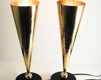 Pair VIntage Designer Hammered Brass w/ Granite Torchiere Mid Century Lamps