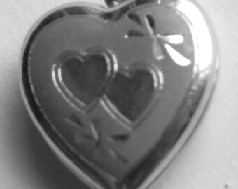 Locket Heart Opens Etched Child Pendant ONLY. Chain NOT included.