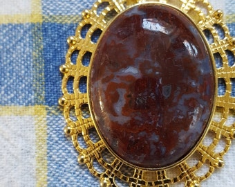 Red Agate Pendant Gold setting