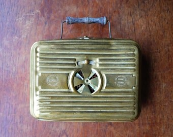 Late 19th Century French Brass Foot Warmer By 'Girodon & Co' Lyon