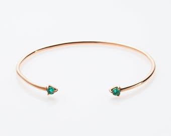 Gold bracelet  Green quartz bracelet Cuff bracelet  Green stone bracelet  Fashion bracelet Gift idea