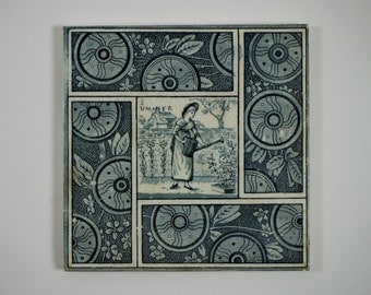 Antique 1880s T. & R. Boote Kate Greenaway Seasons Summer tile. 3