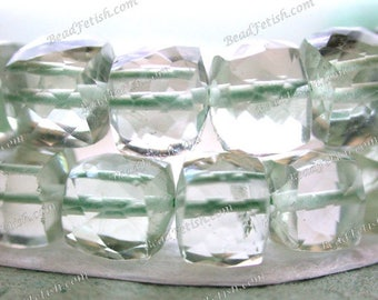 Green Amethyst Beads, 29 ~ 5 to 6mm Green Amethyst Faceted Cube Beads, Semi-Precious Beads, Gemstone Beads  SEM-032