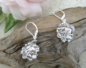 ROSE SPOON EARRINGS Upcycled jewellery, rose earrings, Sterling Silver 925, handmade  from early 1900s antique spoons (Bridal Rose)