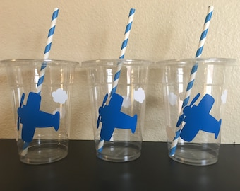 Airplane Party cups, Plane Party Cups, Airplane Birthday Cups
