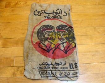 Vintage feed sack-old burlap bag-vintage feed bag-two girls feed sack-rice food burlap bag - gay lesbian lgbt interest