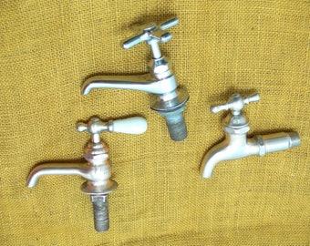 Vintage faucet lot-old water faucets-vintage valve faucet-old spigot-chrome faucets-mid century faucet-old sink faucet lot-industrial faucet