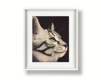 Cat art print - tabby cat - black cat - by Tracy Stone