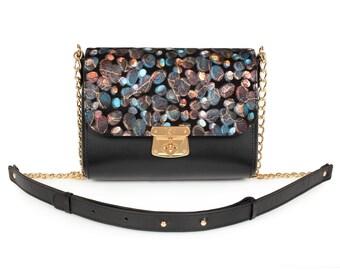 Leather Cross body Bag, Black Leather Shoulder Bag, Women's Leather Crossbody Bag, Leather bag KF-915