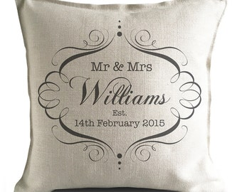Wedding Cushion Cover Pillow Cover Personalised Mr and Mrs bride and groom - Anniversary Vintage Style Gift - Home Decor Decoration