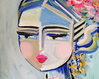 Warrior Girl Print, paper or canvas, Trini, blue and pink, woman portrait