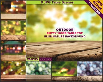 Empty Wood Table Outdoor Styling | 8 JPG Styled Stock Scene TC2 | Close up Table Nature Blur Autumn Background | Mockup Scene Creator